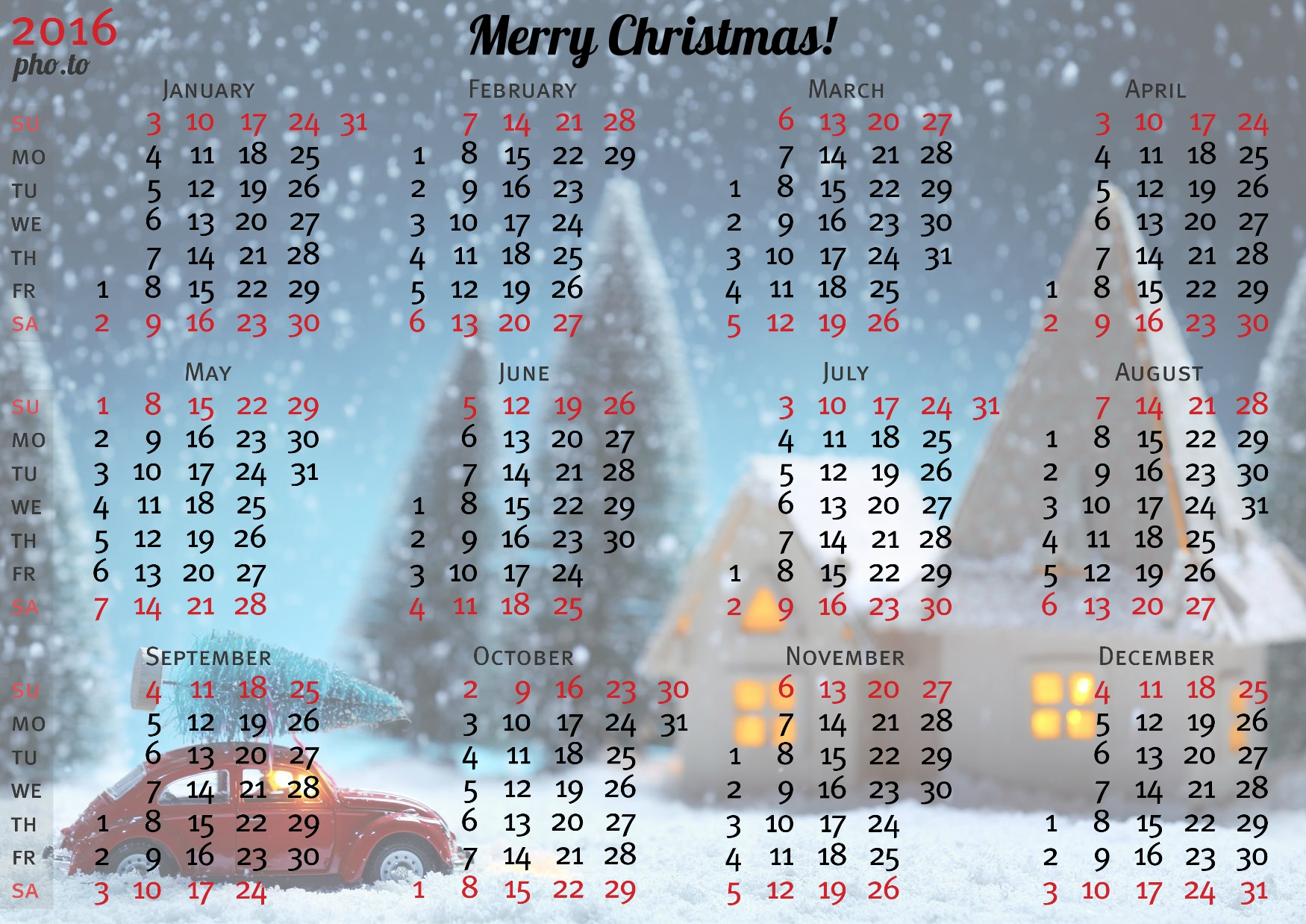Customizable photo calendar template for Christmas and New Year 2016.