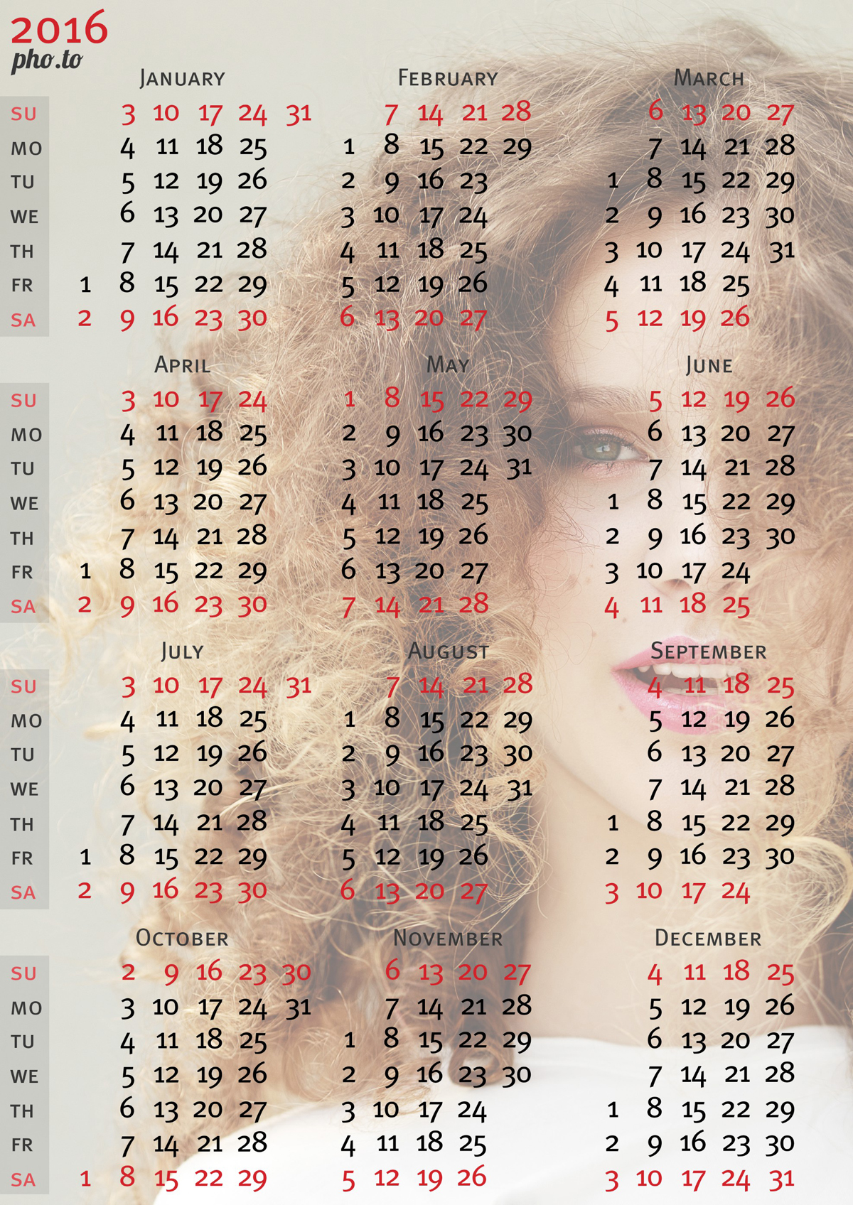 Gorgeous picture of a blond girl with curls was put into a photo template to make a pretty calendar.