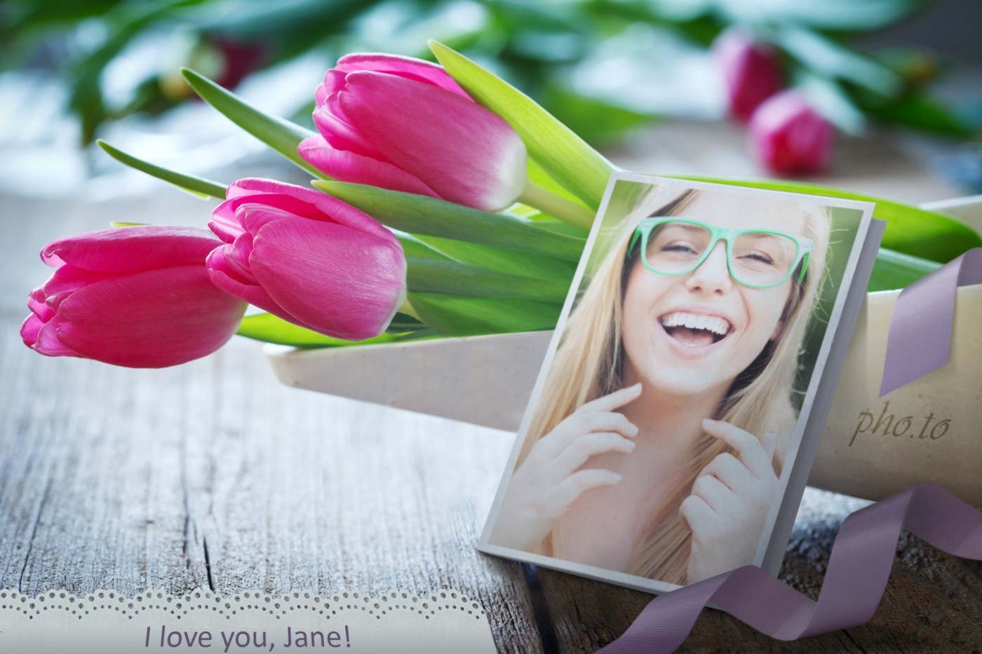 Valentine's Day card with tulips, her custom photo & romantic wishes.