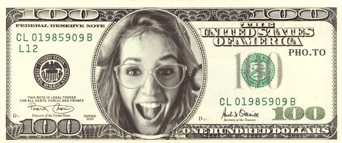The girl's portrait looks awesome in the picture of $100 dollar bill