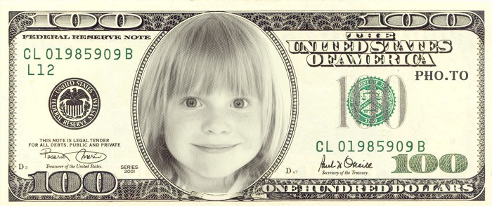 face in dollar bill editor was applied to a childs photo