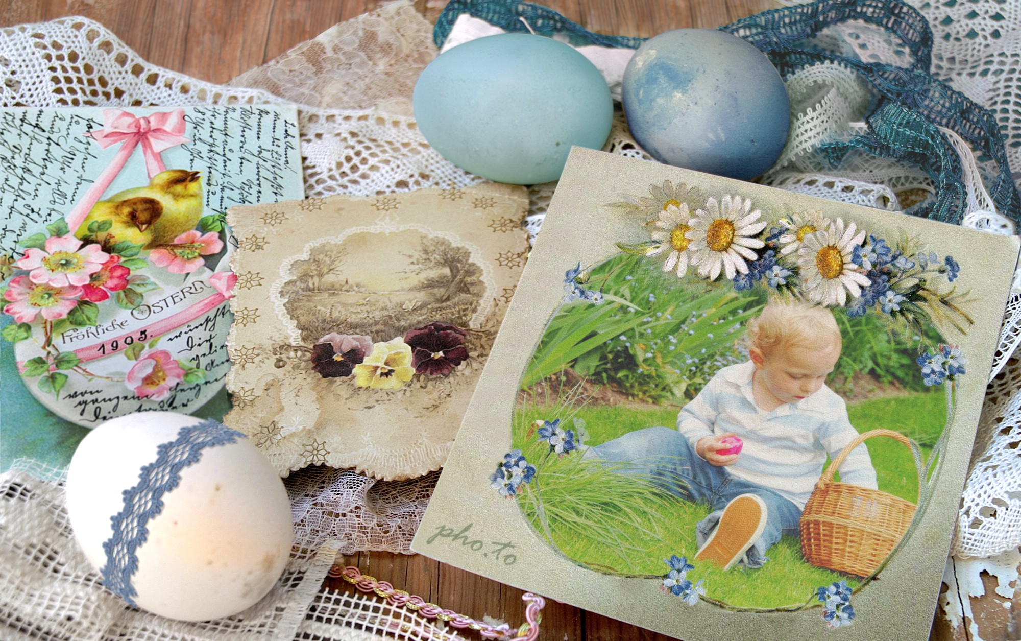 Traditional personalized Easter e-card with a photo of a little boy