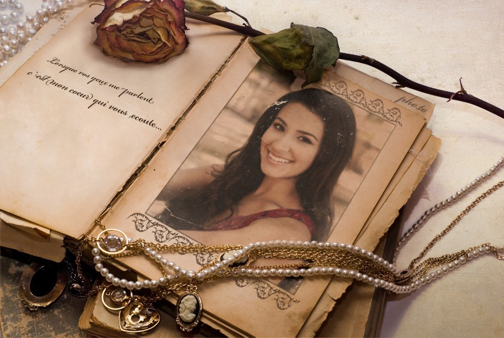 Girl's photo  is decorated with Vintage Memories Frame on Funny.Pho.to