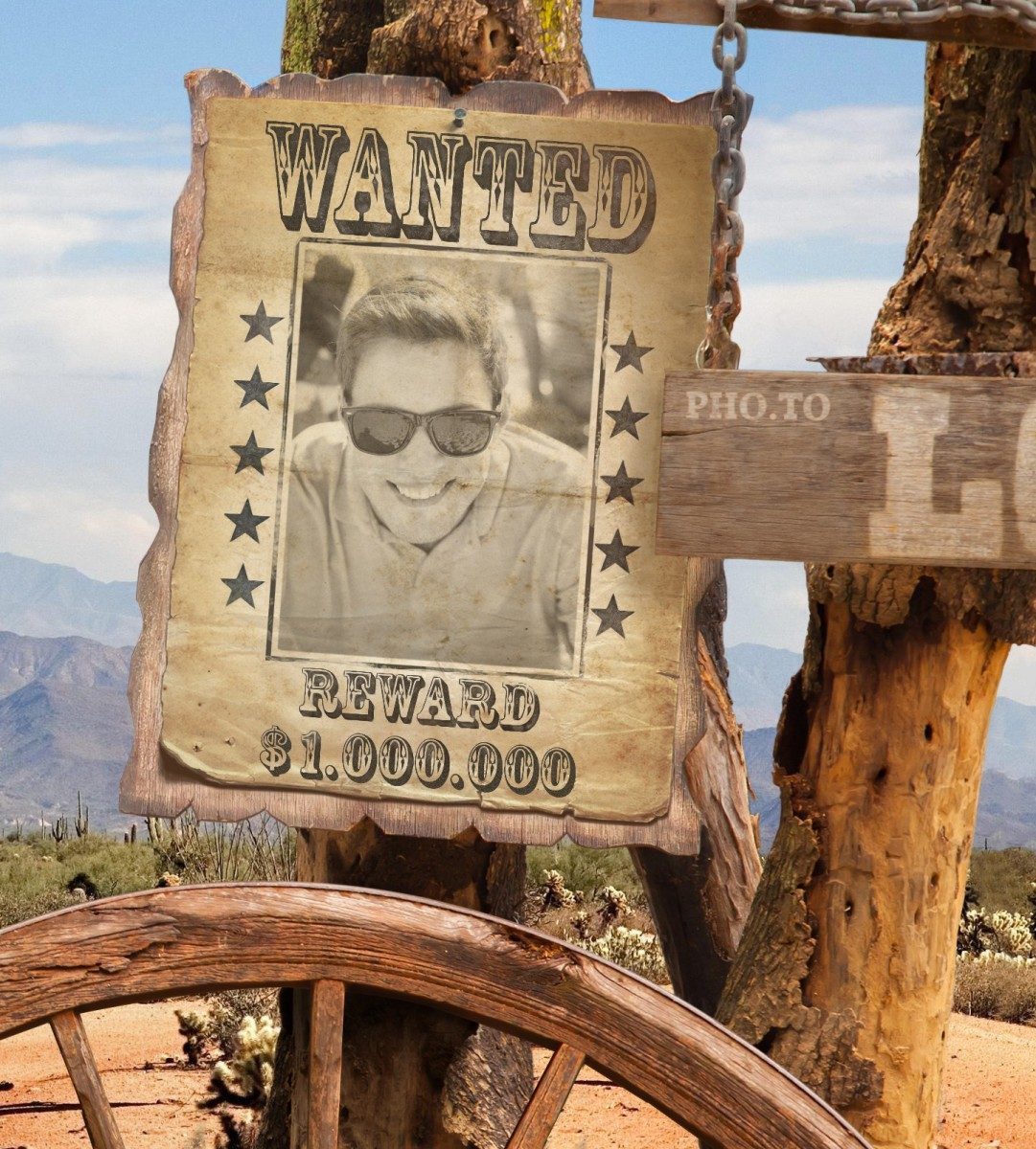 A photo of a cool guy processed with Wanted Poster photo template