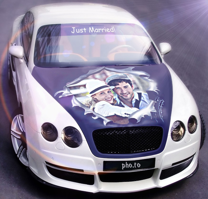 White Bentley photo collage for free greeting cards and avatars.