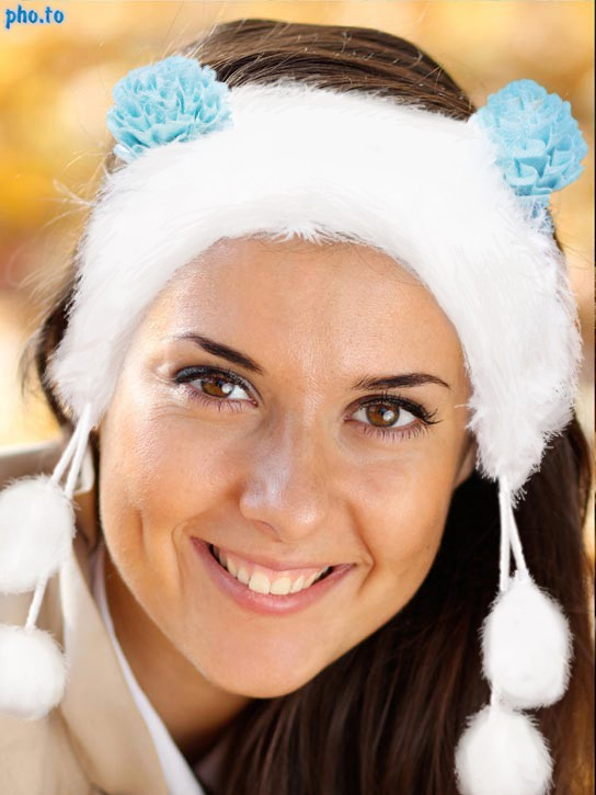A girl is turned into sweet snow maiden with Winter Headband photo effect