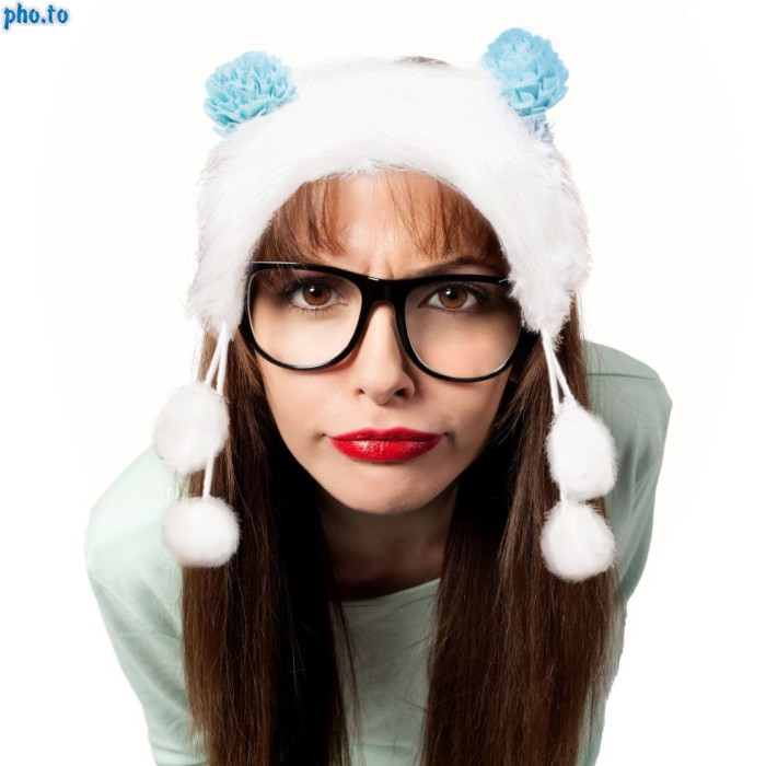 Funny Winter headband added to hipster girl in a photo