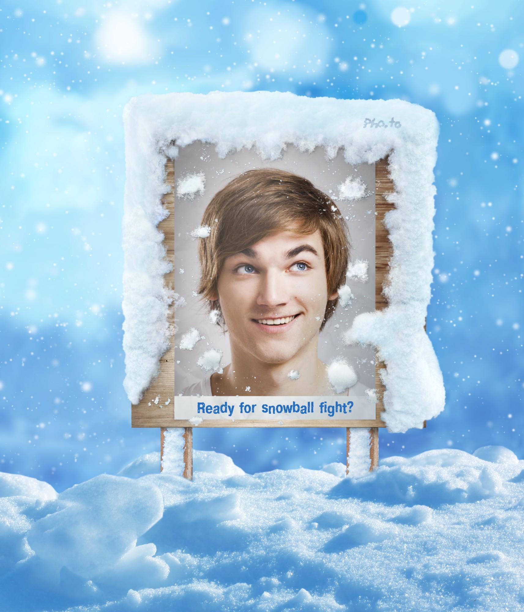 Online Schnee Fotoeffekt. Winter Anschlagtafel Fotorahmen.
