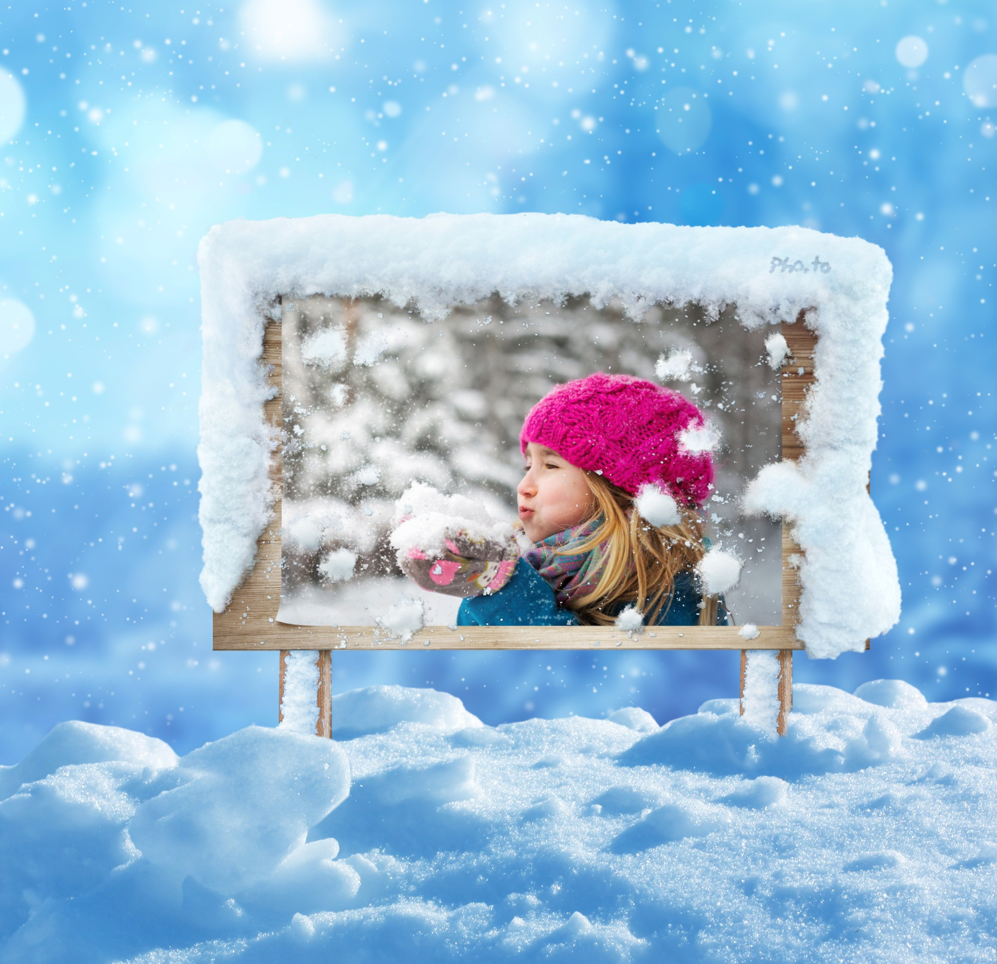 A photo of a girl blowing the snow is set on winter wooden signboard online